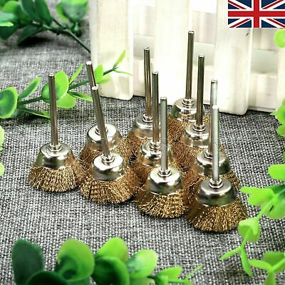 25mm Cup Wheel Wire Brushes Grinder Rotary Tool 3mm Shank Mandrel 10Pcs