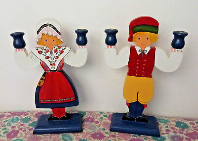 Scandinavian Swedish Vintage Folk Art Wooden 2 x Candle Holders Hand Painted