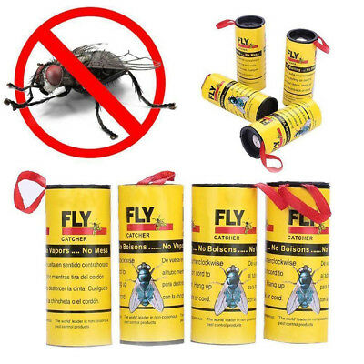 Lot Insect Bug Fly Glue Paper Catcher Trap Ribbon Tape Strip Sticky Flies Rolls