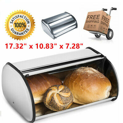 Rolltop Bread Box Stainless Steel Cake Food Container Kitchen Storage Bin USA