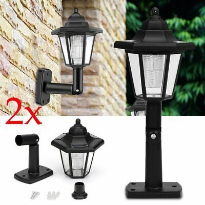 Solar Power LED Path Way Wall Landscape Mount Garden Fence Lamp Outdoor Light