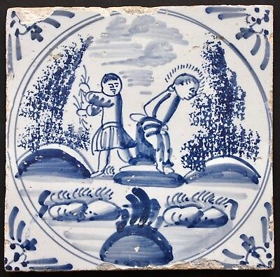 "Antique 18th century Dutch Delftware Bible Tile ""Flagellation of Christ"" Ox-head"
