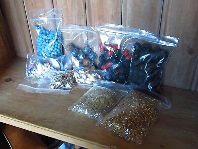 Job Lot Of Vintage Wooden Carved Beads Earring Pairs And Pieces Metal Hooks Etc
