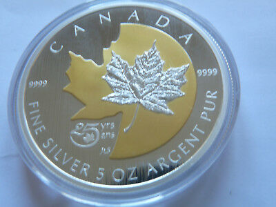 """Canada .999 silver 5oz $50 2013 """"25 years of the silver maple leaf"""" coin, cased"""