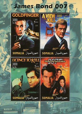 Somalia 2004 MNH James Bond 007 Sean Connory Roger Moore 4v M/S Movies Stamps