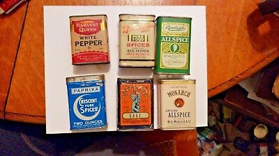 Mixed Lot Of 6 Early Vintage Spice Tins