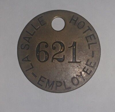 RARE old LaSalle Hotel Chicago IL Brass Hotel Employee Key Fob