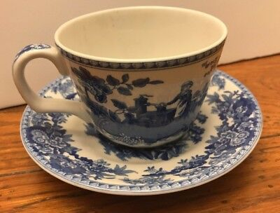 The Spode Blue Room Collection Girl at Well Tea Cup and Saucer