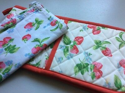 Cath Kidston Strawberry Oven Glove And T Towel