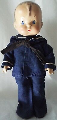 """Effanbee 1943 Vintage composition 14"""" SKIPPY Doll in Original Sailor Outfit"""