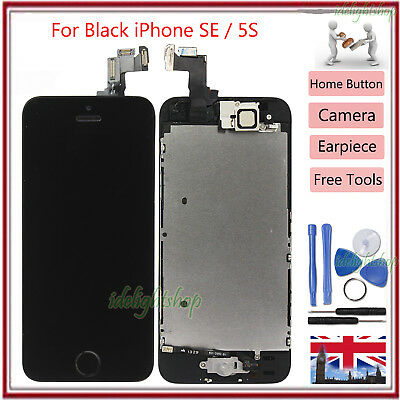Display Assembly For iPhone SE 5S Black LCD Touch Digitizer Screen + Home Button