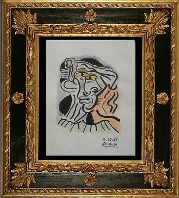 PABLO PICASSO DRAWING ON PAPER SIGNED  watercolor -// NO PRINT -/ VINTAGE  ----