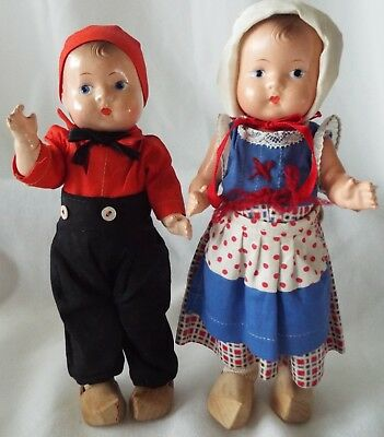 """Effanbee 1933 Composition 8"""" PATSY TINYETTE Kit & Kat Dolls All Original Outfits"""