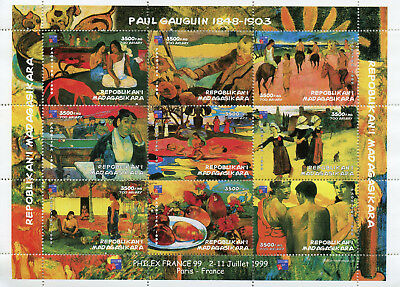Madagascar 1999 MNH Paul Gauguin Philex France '99 9v M/S Art Paintings Stamps
