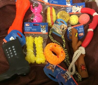 Dog Toys x10 Job Lot Rope Toys Squeaky Toys Dog Balls Squeaky Ball