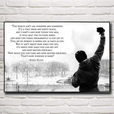 Rocky Balboa Boxing Motivational Quote Wall Art,Sylvester Stallone Canvas Poster