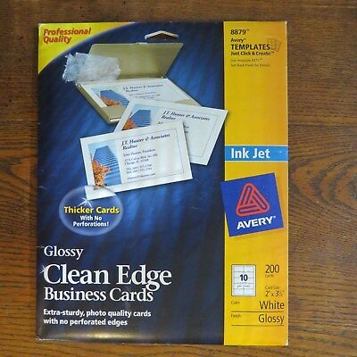 """NEW Part Pkg Glossy AVERY 8869 Clean Edge Business Cards 170ea White 2X3-1/2"""""""