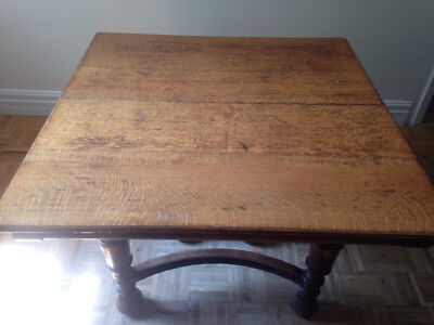 """PRICE REDUCED!!! Antique Tiger Oak 40"""" Square Kitchen Table with 2 Leaves"""