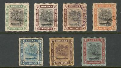 """Brunei – 1907- 12 """"water Village & Taxi"""" Def. 7 Diff. To $1 (Used)"""