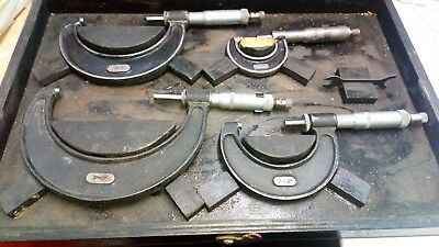 """Joblot 4 Moore and wright micrometers 1"""" 2"""", 3"""", 4"""" in inches. With case"""