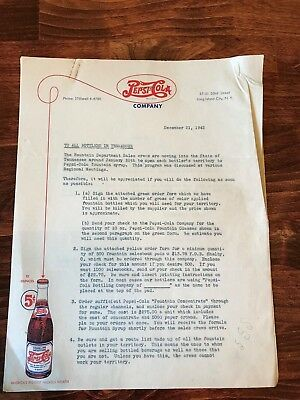 Pepsi Cola Double Dot Two Page Parent Co. Letter Dated 1942