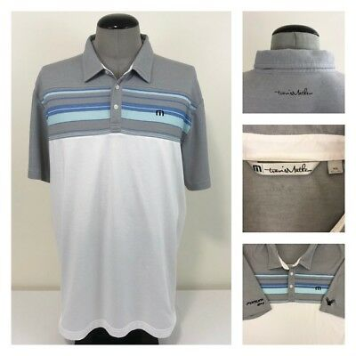 Travis Mathew Mens 2XL Golf Polo White Gray Blue Embroidered Spell Out Shirt
