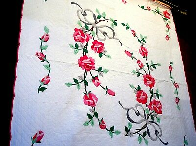 Vtg 1930's Pink Rose & Ribbon Applique Quilt hand quilted Flower lease ring