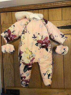 Baby Girls Ted Baker Snowsuit Floral 3-6 Months Great Condition