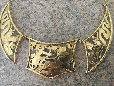 Rare Egyptian Revival Stamped 18k Solid Yellow Gold Pharaonic Choker Necklace!!