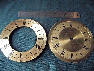"Two Vintage Brass Clock Faces for Spares one marked ""Metamec"""