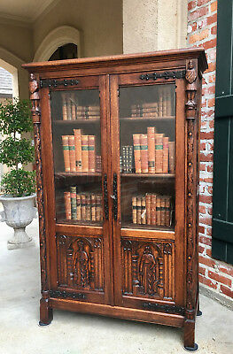 Antique French Carved Tiger Oak Gothic Bookcase Display Cabinet Renaissance