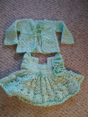 vintage infant crochet dress and sweater