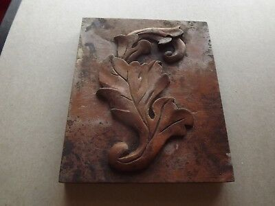 Antique Mahogany Carved Wood Stylized Leaf 7X6X.5 In