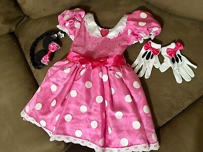 Disney Store Minnie Mouse Halloween Costume Size 3T Toddler Dress Ears Gloves