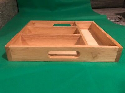Rubberwood Cutlery Tray, 4 Compartments