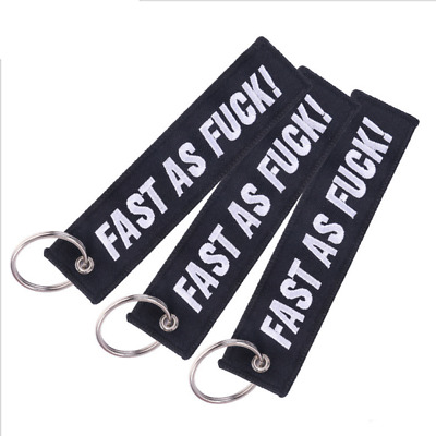 3pcs FAST AS FU Embroidered Keychain Motorcycle Car Luggage Keyrings Key Tag