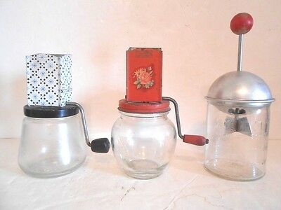 Vintage Hazel Atlas, Androck and Dispensers Nut Meat Grinders-Set of 3