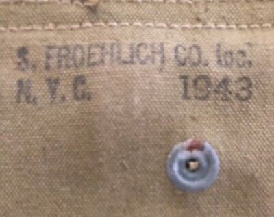 S. Froehlich 43 WW2 US USMC Army Military M-1 M1 Carbine Khaki Canvas Ammo Pouch