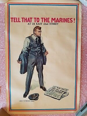 Vintage Ww1 Tell That To The Marines At James Montgomery Flagg 36 X 23 Poster