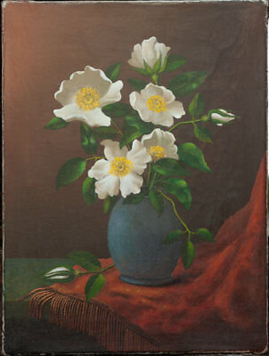 Old American Painting with Wild Roses in a vase, signed, unframed