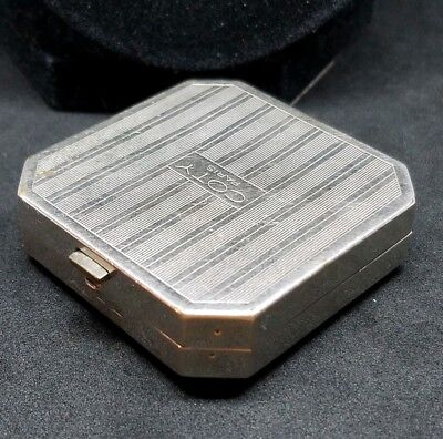 Vintage Signed Coty Paris Art Deco Engraved Silver Tone Hand Mirror & Compact