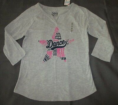NWT Justice girls 18 Dance word art star active tee top shirt 3/4 sleeve new