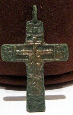 ATTRACTIVE ANTIQUE 1600-1800s. RUSSIAN ORTHODOX BRONZE CROSS  # 211