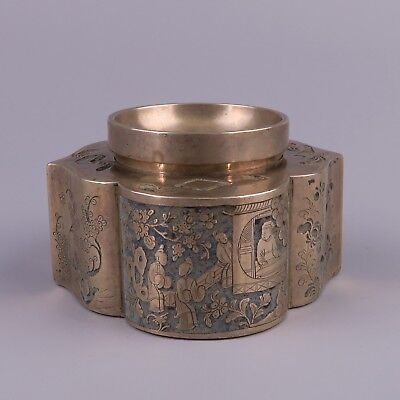 Antique Chinese Paktong Inkwell, Ink Jar - 19th Century.