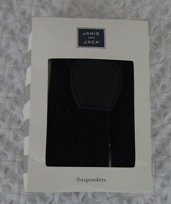 Janie and Jack 6-12 months Boys Black Suspenders NIB $28.00 wedding formal