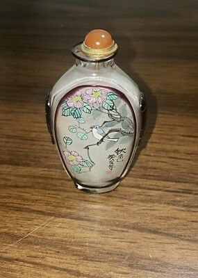 Chinese glass snuff bottle scenery landscape birds on tree branch estate vintage