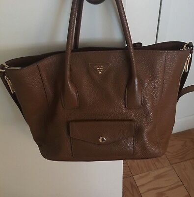 64f1d30f9a9a Prada Daino Side-Zip Twin Pocket Tote Bag, Brown (Brandy) Leather BN2672