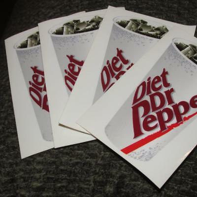 Lot of 4 Vintage Diet dr Pepper Cup soda pop ice stickers