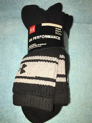 Under Armour Performance Crew Socks 4 Pairs Pack Black Gray Adult Large *new*