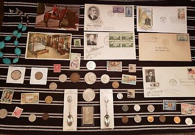 Junk Drawer Lot: Old U.S. Coins, Scrap Silver,  Peace Dollar STAMPS +